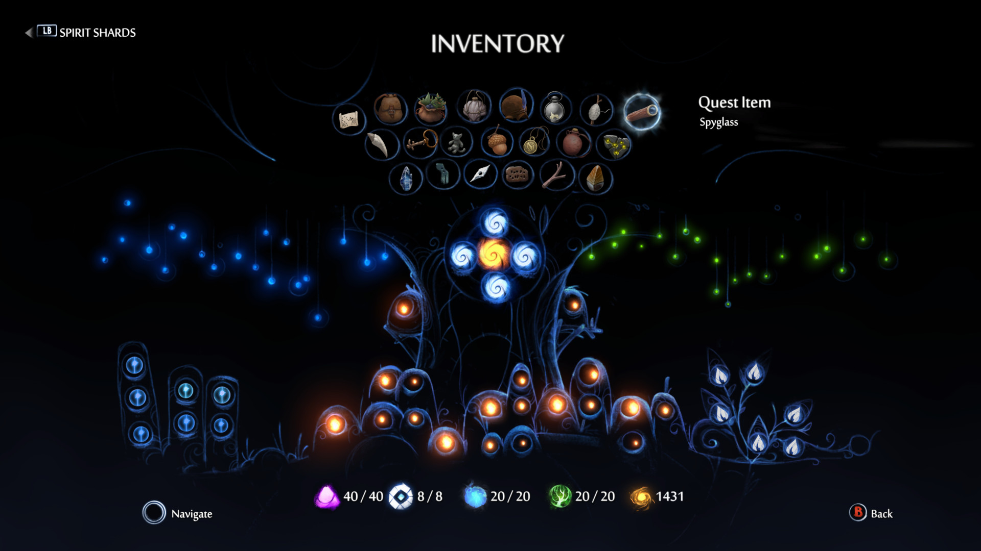 Ori and the Will of the Wisps gives player freedom with diverse play options and artsy menus